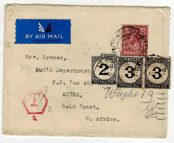 GOLD COAST - 1935 inward underpaid cover from UK with 2d + 3d (x2)