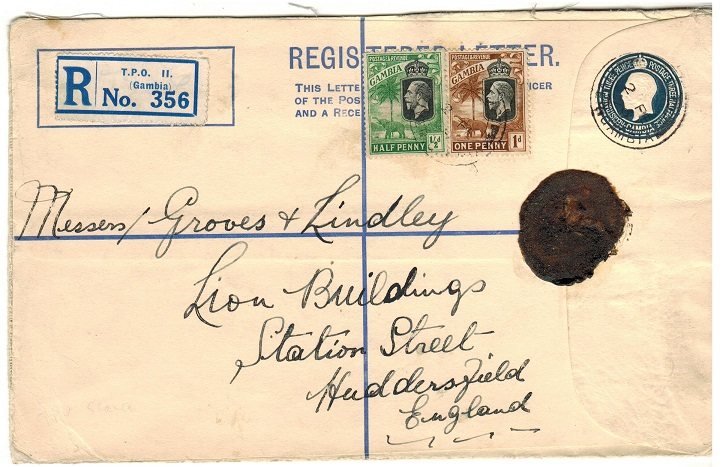 GAMBIA - 1924 3d + 1 1/2d dark blue RPSE (size H) to UK used at TPO No.2/RIVER GAMBIA.  H&G 5b.
