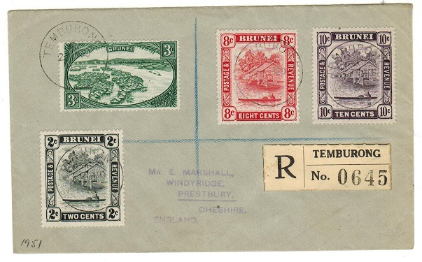 BRUNEI - 1951 registered cover to UK used at TEMBURONG.