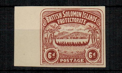 SOLOMON ISLANDS - 1907 6d IMPERFORATE PLATE PROOF printed in chocolate.