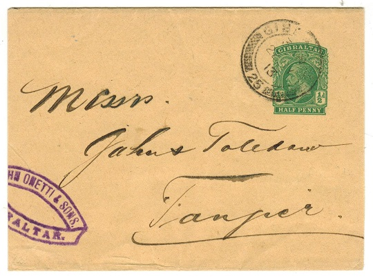GIBRALTAR - 1912 1/2d green postal stationery wrapper addressed to Tangier.  h&g 12.