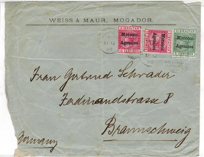MOROCCO AGENCIES - 1898 25c rate cover to Germany used at MOGADOR.