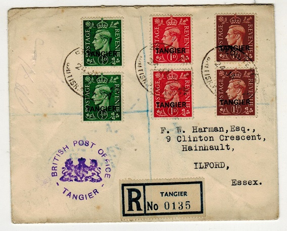 MOROCCO AGENCIES - 1946 registered cover to UK with violet crested BPO/TANGIER h/s applied.