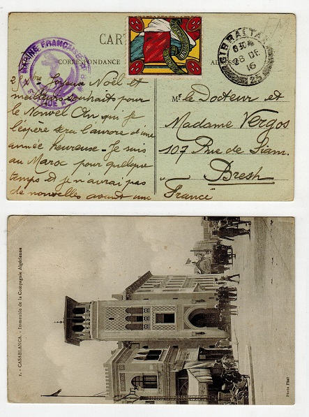 MOROCCO AGENCIES - 1916 French maritime use of postcard addressed to France.