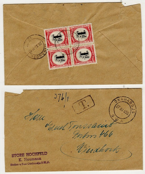SOUTH WEST AFRICA - 1951 unstamped local cover with 1d