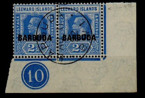 BARBUDA - 1922 2 1/2d bright blue PLATE 10 pair fine used with INVERTED WATERMARK.  SG 4w.