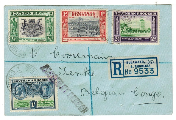 SOUTHERN RHODESIA - 1940 registered cover to Belgian Congo with PASSED BY CENSOR h/s.
