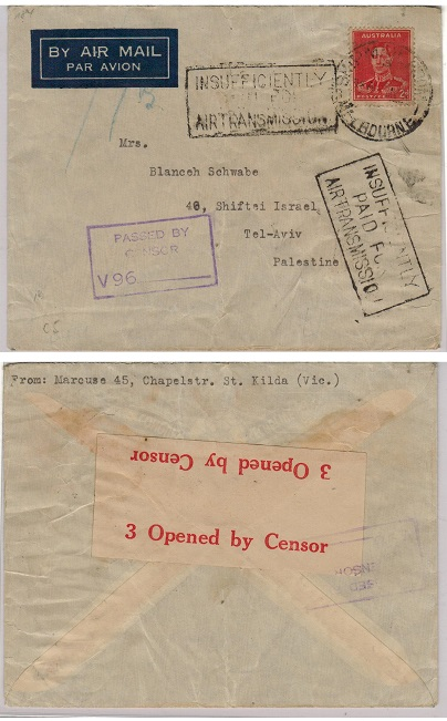 AUSTRALIA - 1941 censor cover to Palestine with INSUFFICIENTLY PAID FOR AIR TRANSMISSION h/s.