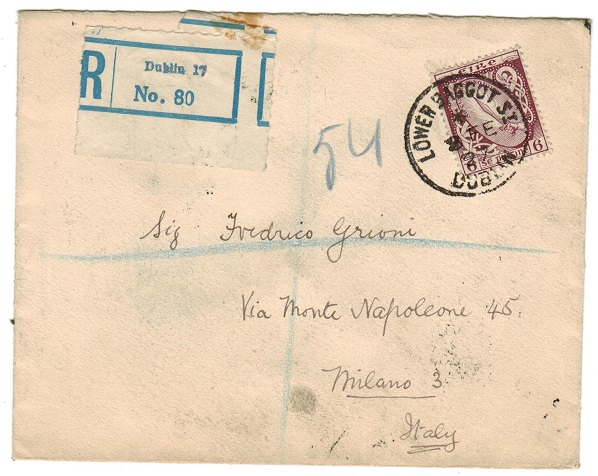 IRELAND - 1927 6d rate registered cover to Italy used at LOWER BAGGOT STREET/DUBLIN.