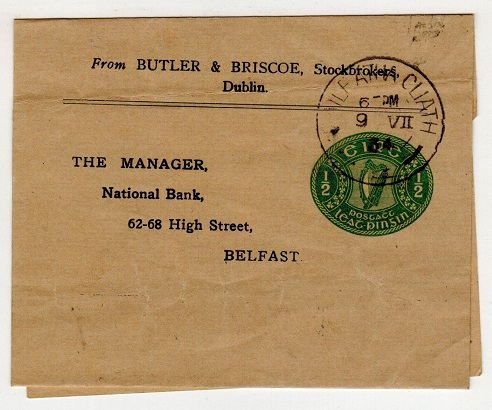 IRELAND - 1924 1/2d yellow green postal stationery wrapper used locally.  H&G 1.