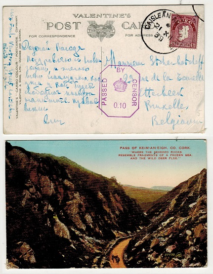 IRELAND - 1939 1 1/2 rate censored postcard use to Belgium used at CAISLEAN AN BARRAIG.