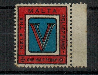 MALTA - 1941 1/2d HELP THE MALTA RELIEF FUND patriotic label mint.