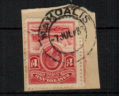 BASUTOLAND - 1933 1d scarlet (SG 2) tied to piece by complete MAKOALIS cds dated 7.JU.36.
