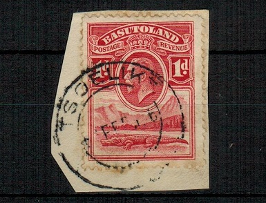 BASUTOLAND - 1933 1d scarlet (SG 2) tied to piece by complete TSOELIKE cds dated 1.FE.36
