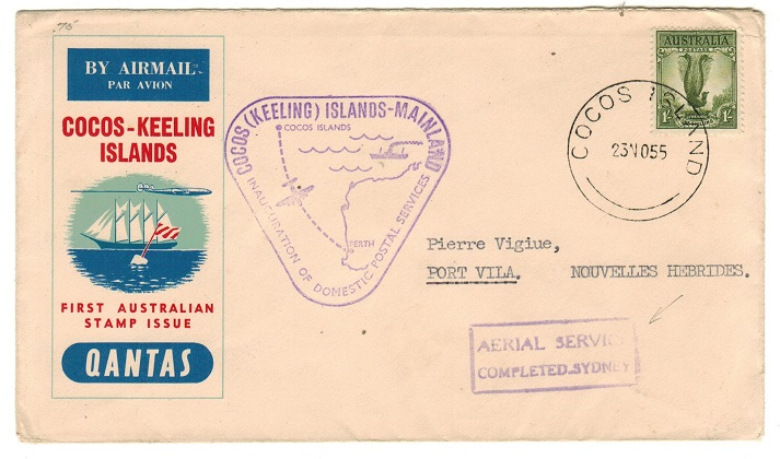 COCOS ISLAND - 1955 first flight cover to New Hebrides with AERIAL SERVICE h/s applied.
