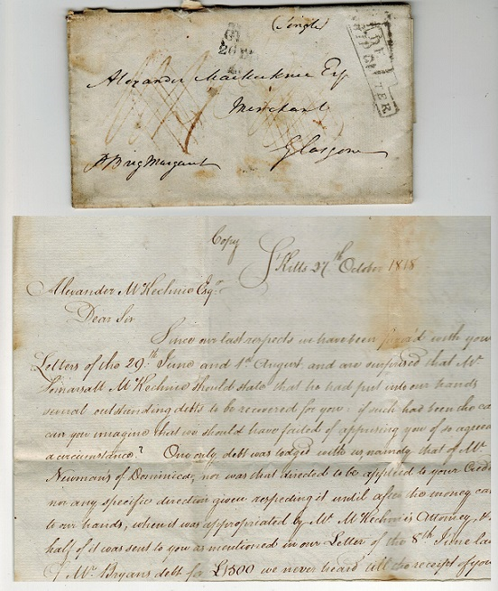 ST.KITTS - 1818 entire to UK with stepped DEAL/SHIP LETTER h/s applied.
