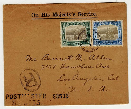 ST.KITTS - 1923 OHMS cover registered to USA with 2d and 3d
