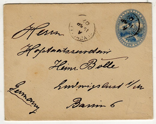 SEYCHELLES - 1895 15c blue PSE used to Germany.  H&G 2.