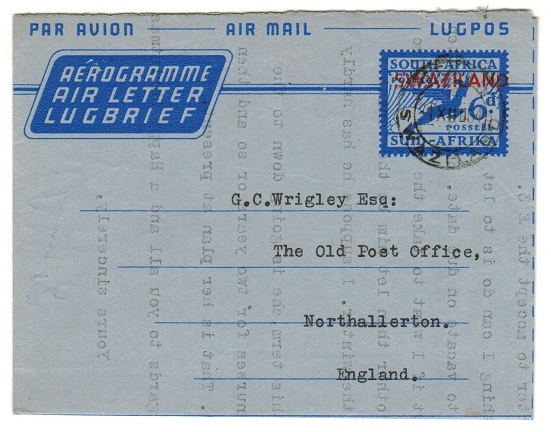 SWAZILAND - 1954 6d air letter to UK used at STEGI.  H&G 14.