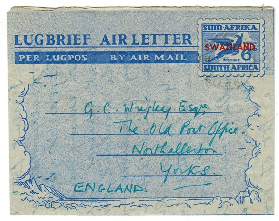 SWAZILAND - 1951 6d air letter to UK used at STEGI.  H&G 13.