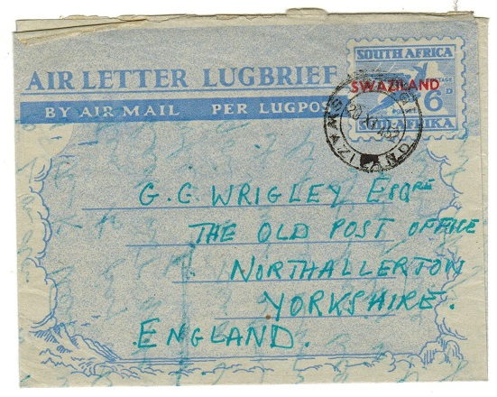 SWAZILAND - 1951 6d air letter to UK used at STEGI.  H&G 12.