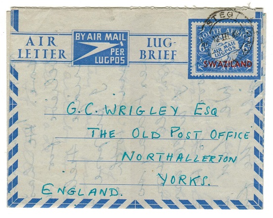 SWAZILAND - 1949 6d air letter to UK used at STEGI.  H&G 8.