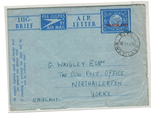 SWAZILAND - 1948 6d air letter to UK used at STEGI.  H&G 7.