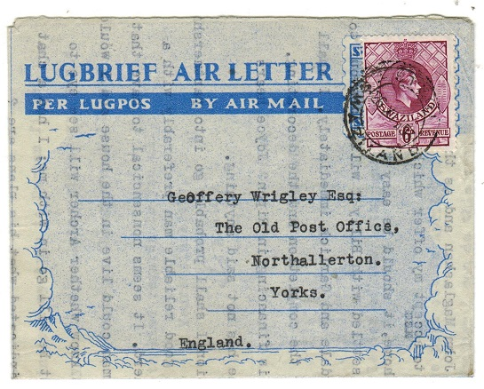 SWAZILAND - 1953 use of unaccepted South African 6d air letter to UK with Swaziland 6d added.