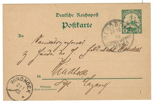 SOUTH WEST AFRICA (German) - 1900 5pfg green PSC to Germany used at REHOBOTH.  H&G 13.