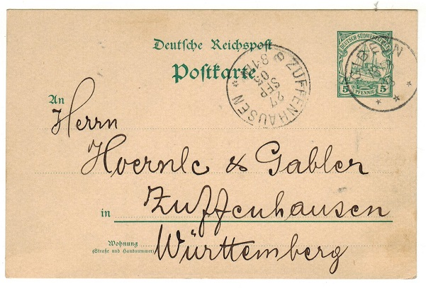 SOUTH WEST AFRICA (German) - 1900 5pfg green PSC to Germany used at GIBEON.  H&G 13.