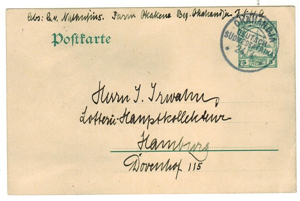 SOUTH WEST AFRICA (German) - 1909 5pfg green PSC to Germany used at OKAHANDJA.  H&G 18.