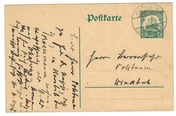 SOUTH WEST AFRICA (German) - 1912 5pfg green PSC used locally and cancelled KARIBIB.  H&G 19.
