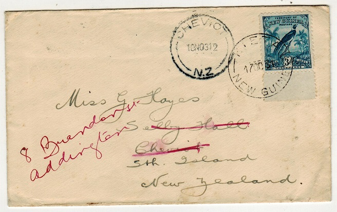 NEW GUINEA - 1931 3d rate cover addressed to New Zealand used at KIETA.