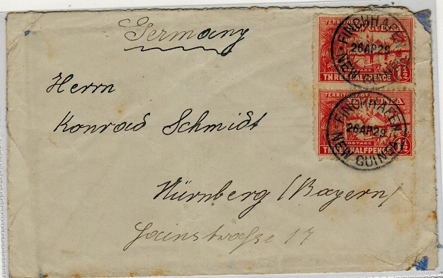 NEW GUINEA - 1929 3d rate cover to Germany used at FINCHHAFEN.
