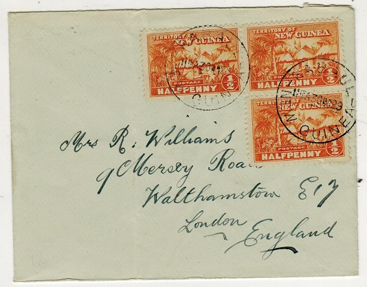 NEW GUINEA - 1929 1 1/2d rate cover to UK used at RABAUL.