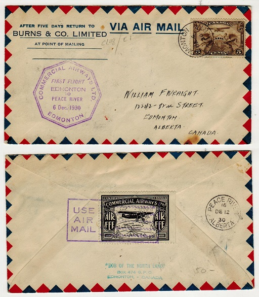 CANADA - 1930 first flight cover from Edmonton to Peace River.