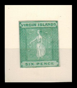BRITISH VIRGIN ISLANDS - 1866 6d IMPERFORATE PLATE PROOF printed in green.