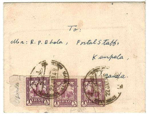IRAQ - 1948 3 fils rate cover to Uganda used at ALWIYA.
