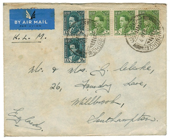 IRAQ - 1938 36 fils rate cover to UK used at DHIBBAN.