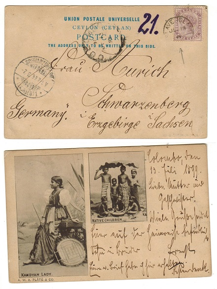 CEYLON - 1899 5c rate postcard use to Germany used at SLAVE ISLAND.