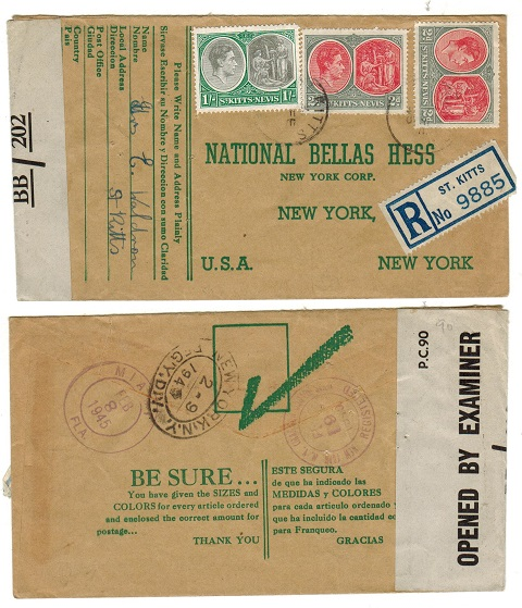 ST.KITTS - 1945 1/4d rate registered