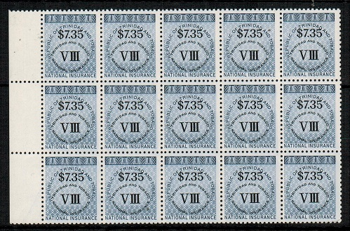 TRINIDAD AND TOBAGO - 1980 (circa) $7.35 grey blue NATIONAL INSURANCE U/M block of 15.
