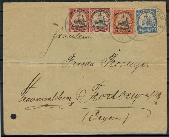 SOUTH WEST AFRICA (German) - 1910 four coloured franking cover to Germany used at OKAHANDJA.