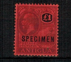 ANTIGUA - 1922 £1 purple and red on red mint  handstamped SPECIMEN.  SG 61.