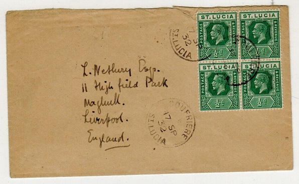 ST.LUCIA - 1932 2d rate cover to UK used at SOUFRIERE.