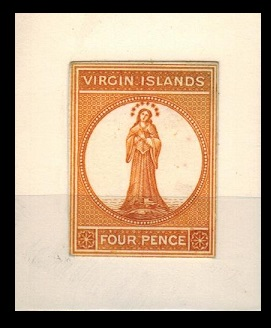 BRITISH VIRGIN ISLANDS - 1866 4d IMPERFORATE DIE PROOF printed in deep orange.