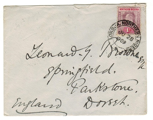 NORTHERN NIGERIA - 1909 1d rate cover to UK used at LOKOJA.