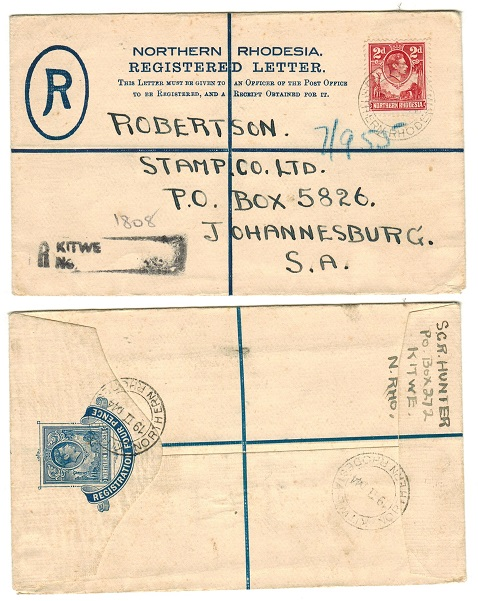 NORTHERN RHODESIA - 1938 4d blue RPSE to South Africa used at KITWE.