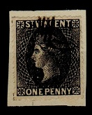 ST.VINCENT - QV 1d black perforated SPIRO FORGERY with bogus cancel.