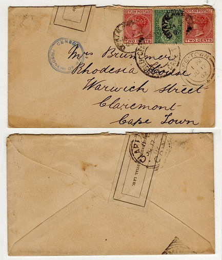 CEYLON - 1902 7c rate censored cover to Cape used during Boer War from Diyatawala Prisoner Camp.